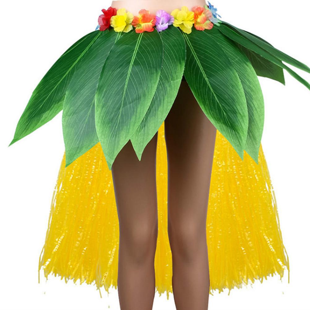 Hawaiian Style Party Grass Skirt Asymmetrical Simulation Leaf Hula Skirts Festival Costume for Beach Stage Dance (Green+Yellow)