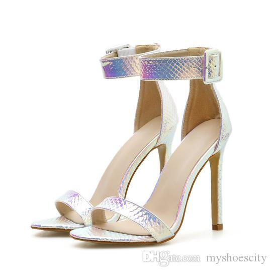 Plus size 35 to 40 41 42 dreamy blue ankle strap woman designer high heel sandals shoes sandals silver wedding shoes
