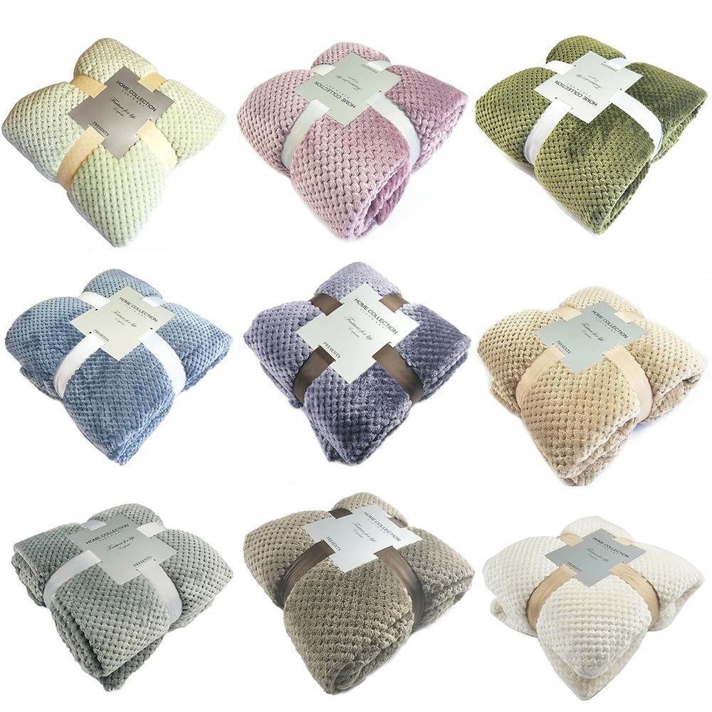 Flannel Bed Blanket Super Soft Warm Fleece Blanket Mesh Pattern