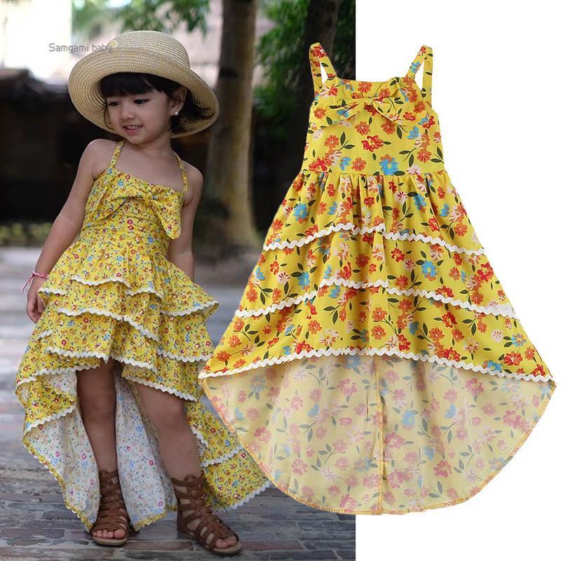 db9577d7fcdd0 2019 Kids Summer Clothes Girls Dress 2019 New Summer Long Girls Dresses  Floral Girls Beach Dresses Slip Dress Kids Designer Clothes A3635 From  Lovekiss, ...