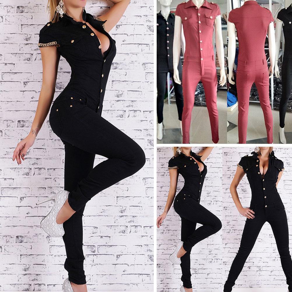 2694c4752e 2019 Hot Sale Women Denim Long Jumpsuit Sexy Deep V Neck Jean Jumpsuits  Buttons Chain Black Overalls For Women Rompers Autumn From Suroise