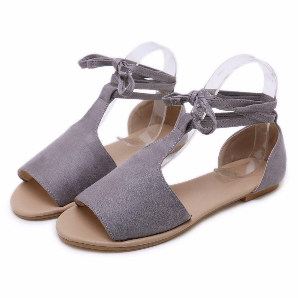 59aea376b 2019 nouveau style couverture talon lacets sandales femme peep toe sandales  plates dames été rome