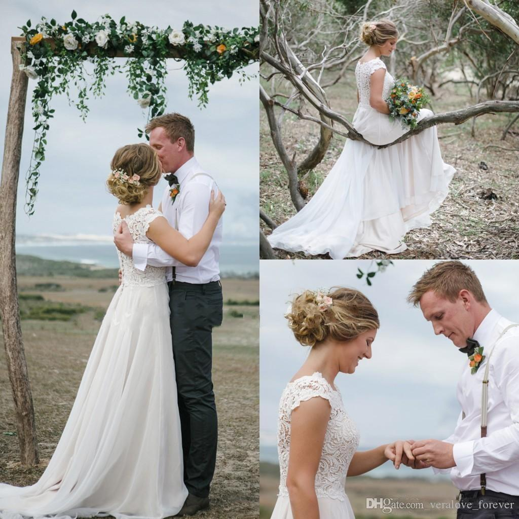 e6a4f595152fb Romantic A-Line Wedding Dresses Jewel Short Sleeve Court Train ...