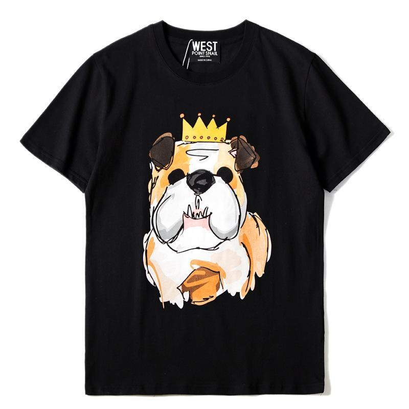 2018 Short Sleeve Tee Shirt Crown Pug Printed Men T Shirts Cotton O-neck Loose Summer T-shirt for Mens Casual Tshirt Homme B211