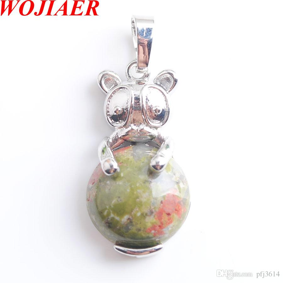 WOJIAER Cute Natural Unakite Jasper Animal The Rabbit Pendant & Necklaces bead Round Gem Stone Fashion Jewelry for Women DN8030