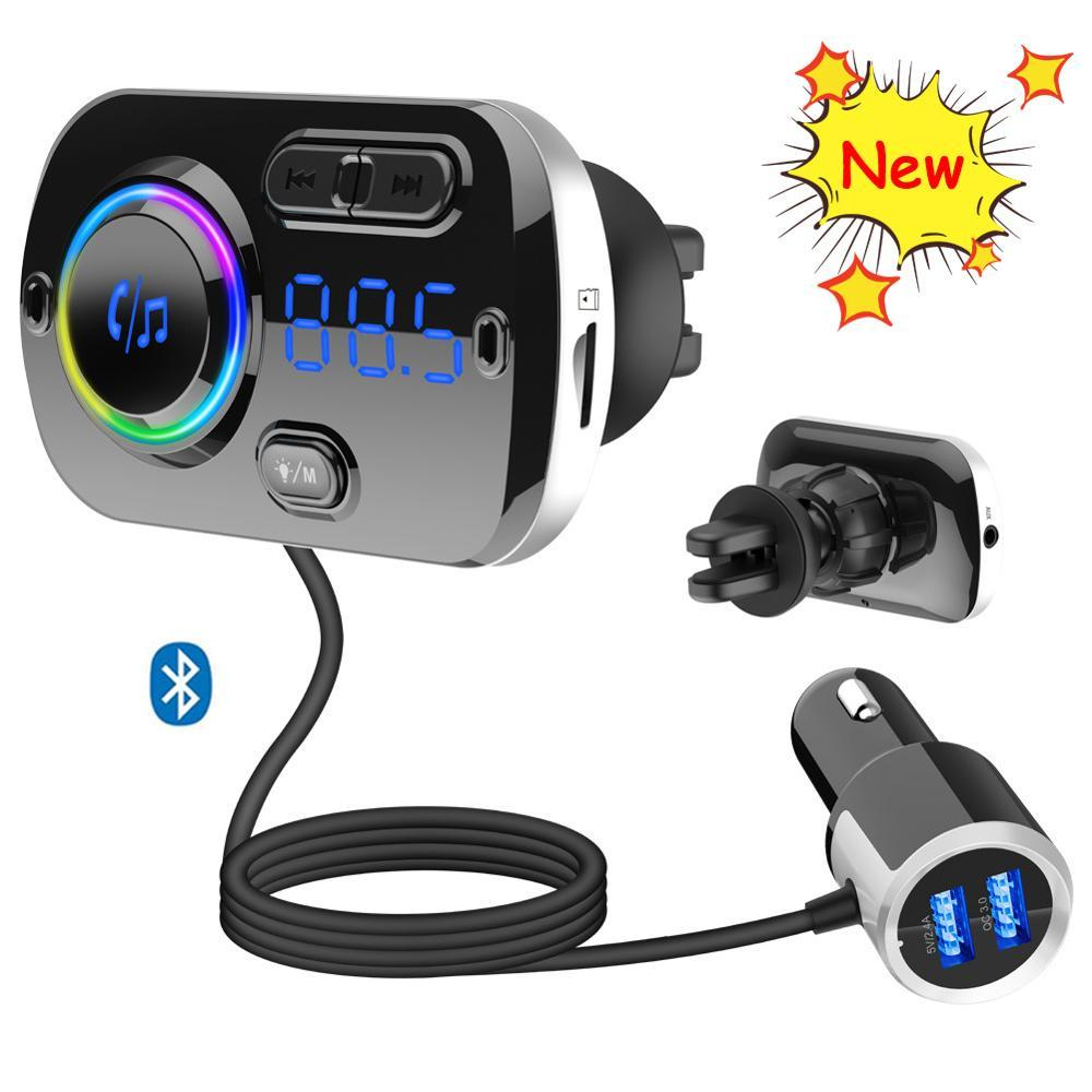 BC49BQ Rainbow Colors Bluetooth Hands-free Calling Car Kit FM Transmitter Radio MP3 Music Player Car Charger Dual USB Ports Adapter TF Card