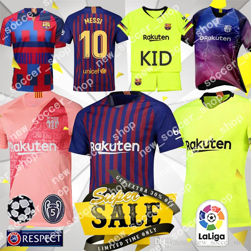 premium selection 9f032 88043 Barcelona Soccer Jersey 10 Messi Men I. RAKITIC 9 SUAREZ 8 A. INIESTA 11  Dembele 7 Coutinho Women Kids kits Football shirts
