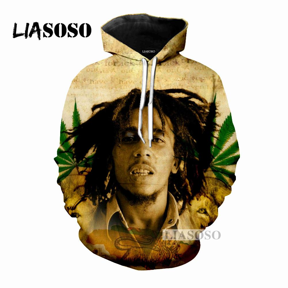 fe826ee6660db LIASOSO 2018 Newest Design Reggae King Bob Marley 3D Print Women Men Hooded  Hoodies Sweatshirts Pullover Harajuku Hip Hop X0203