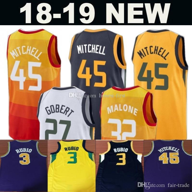 2018 2019 Men S Utah City 45 Donovan Mitchell 12 John Stockton 32 Karl  Malone 3 Ricky Rubio 27 Rudy Gobert 24 Allen Jersey 2018 From Fair Trade 0a85ca765