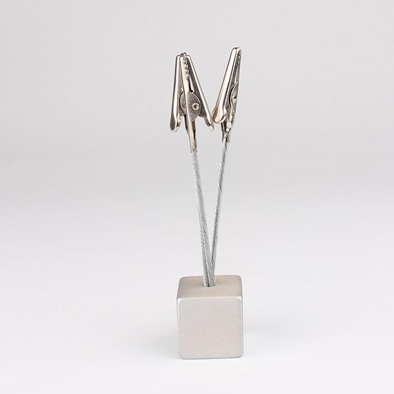 Square Resin Pedestal Place Card Holder Silver Color 3 Clips Photos Clamp Table Decoration for Wedding Birthday Party