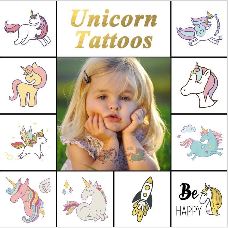 6d5687f53a28d New Colorful Cartoon Unicorn Kids Tattoo Cute Fake Children Temporaire Body  Paint Face Tatto Waterproof Temporary Tattoo Sticker Jewelry Tattoo Kid  Tattoos ...