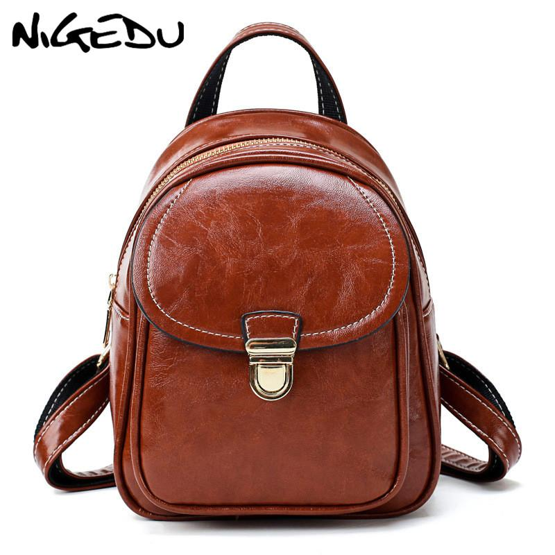 NIGEDU Mini Backpack Women Oil Wax Leather Schoolbag For Teenager Girls Book  Bag Solid Backpacks Female Mochilas Mujer Daypack Tactical Backpack Ogio ... 140cefbd4