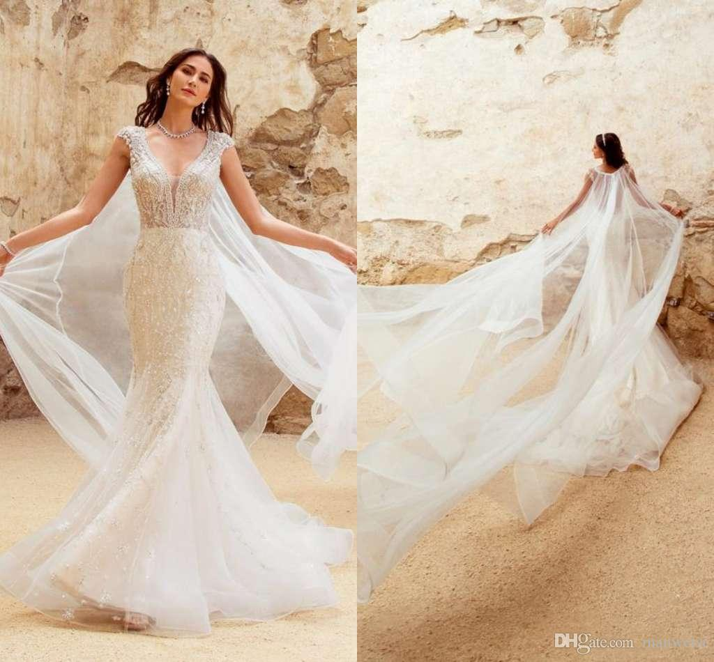 3ddccf2bf96 Kitty Chen 2019 Mermaid Wedding Dresses With Cape Beading V Neck Lace  Appliqued Beach Bridal Gowns Cap Sleeve Sweep Train Wedding Dress Simple Wedding  Gowns ...