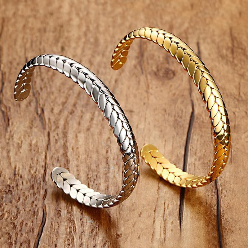 Hot Selling Female Fashion Cuff Bangle Silver Gold-Color Stainless Steel Wheat Bangle Bracelet for Women
