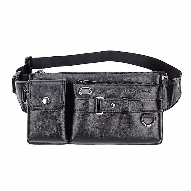 0fbf18e93b8 Men s Genuine Leather Fanny Pack Waist Bag Hip Purse Phone Bum Belt Bag  Sling Bags Messenger Shoulder Pouch Travel Hiking Packet
