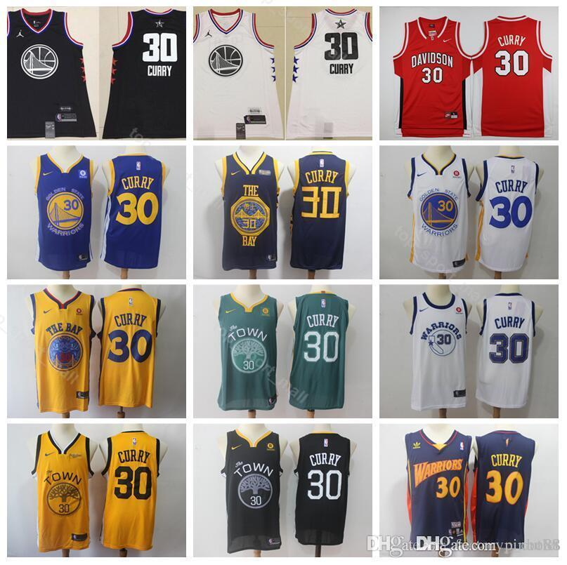 the best attitude 830ed a7e6f All 2019 Star Stephen Curry Jersey 30 Men City Earned Edition Basketball  Warriors Jerseys Davidson Wildcats College Man Black White