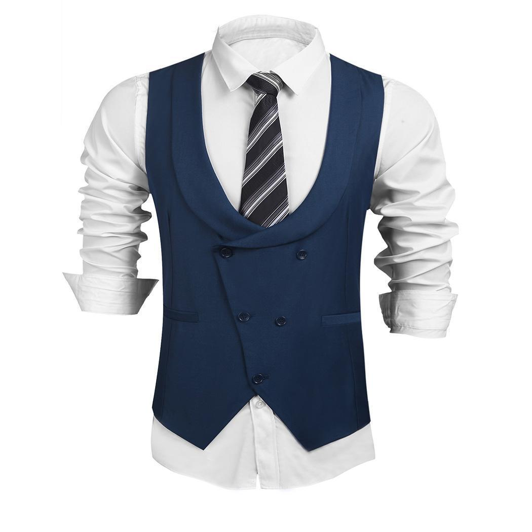 9dced3be36b70 2019 Men U Neck Sleeveless Double Breasted Solid Business