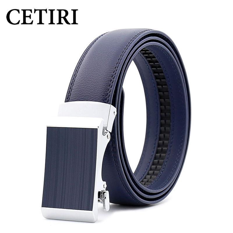 Luxury Automatic Buckles Mens Belts Black Ratchet Leather Dress Jeans Waistband
