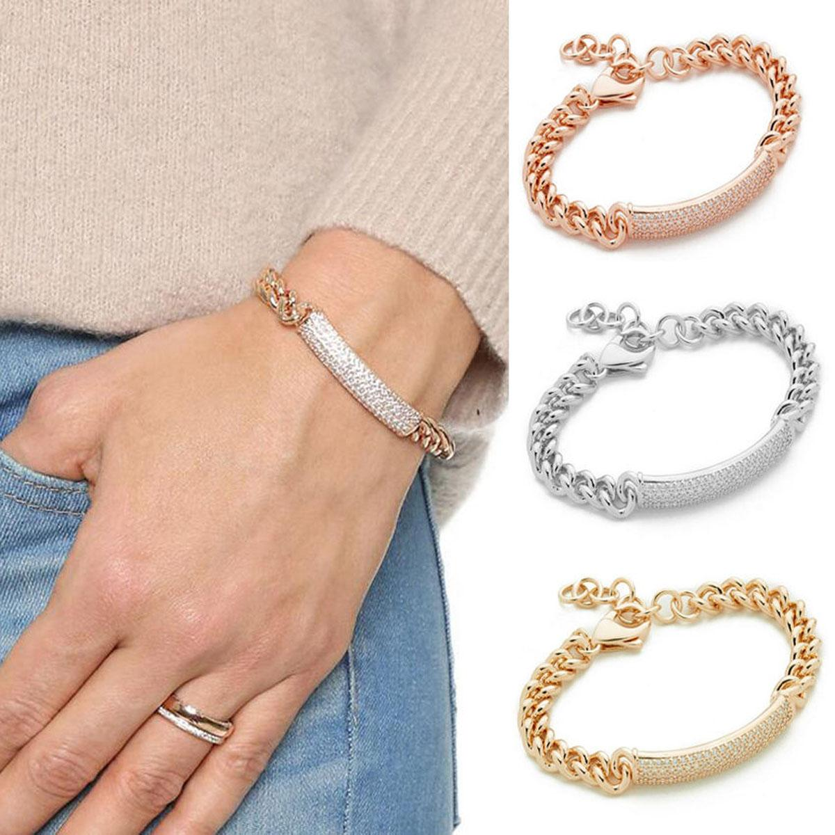 Luxury Crystal Bracelets For Women Silver Rose Gold Bracelets & Bangles Femme Bridal Wedding Jewelry Charm Vintage Bracelet Cuff