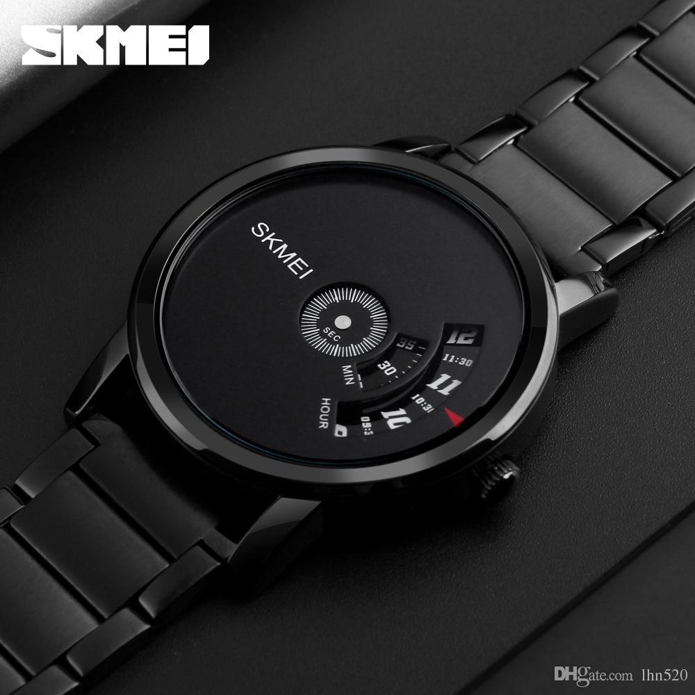 57c73e6ce318 Compre SKMEI Estilo Simple Moda Hombre Reloj De Cuarzo De Lujo Creativo  Banda De Acero Relojes De Los Hombres Ocasionales Impermeables Relogio  Masculino A ...