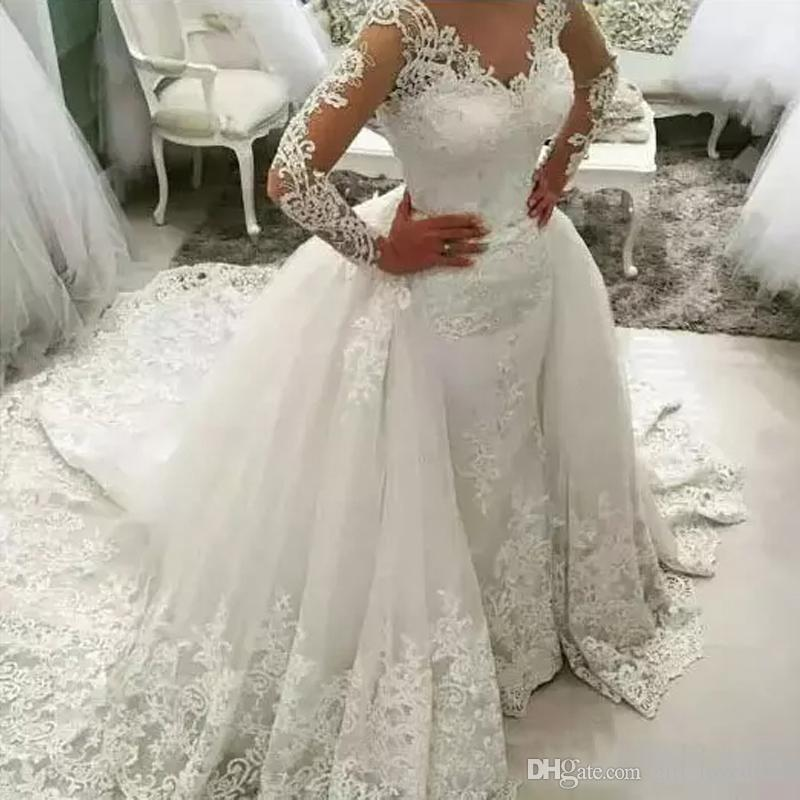 Lace Ball Gown Wedding Dresses Plus size Wedding Gowns Detachable Train Sexy Backless Long sleeves Bridal Gowns for Women