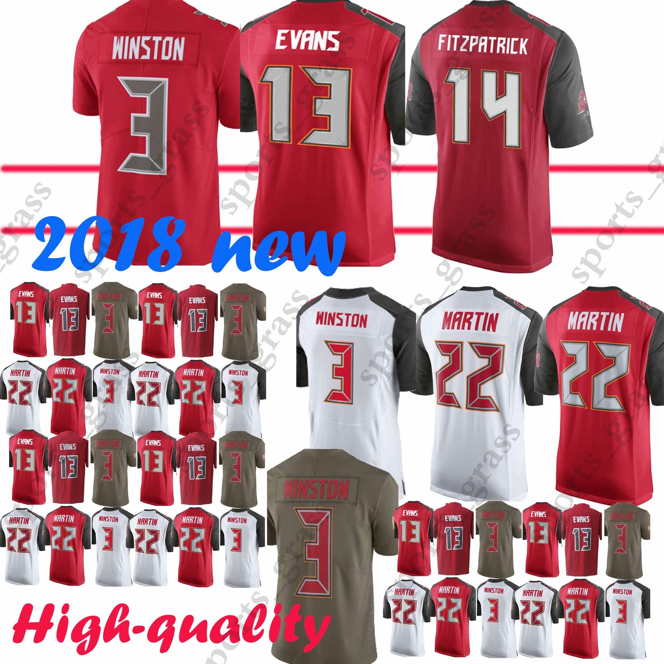 pretty nice 672bf 0df13 Tampa Buccaneer Jersey 14 Ryan Fitzpatrick 3 Jameis Winston 22 Doug Martin  13 Mike Evans Jerseys 2019 new 100% Stitched