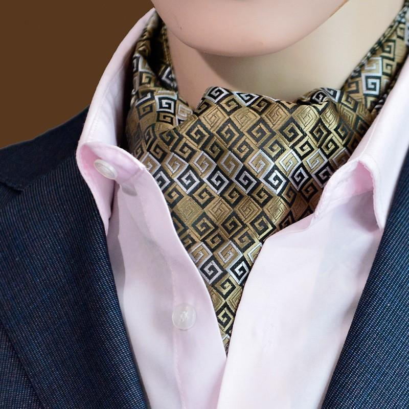 bf8f856e99c8 2019 Classic Mans Neckwear Striped Dots Ascot Tie Cravat Custom Men Neck Tie  Jacquard Handmade Self Tie For Wedding Party From Ikepeibaonecktie, ...