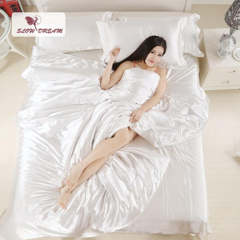 Slowdream Bed Linen Set Silk Satin Solid Color Duvet Cover Set Flat Sheet Bedspread Double Single Twin King Size Bedding