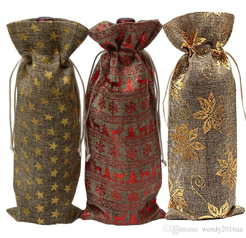100pcs New gold stamping Jute Wine Bottle Gift Bags burgundy 15*37cm Christmas wine Decorations folding bags Festive supplies
