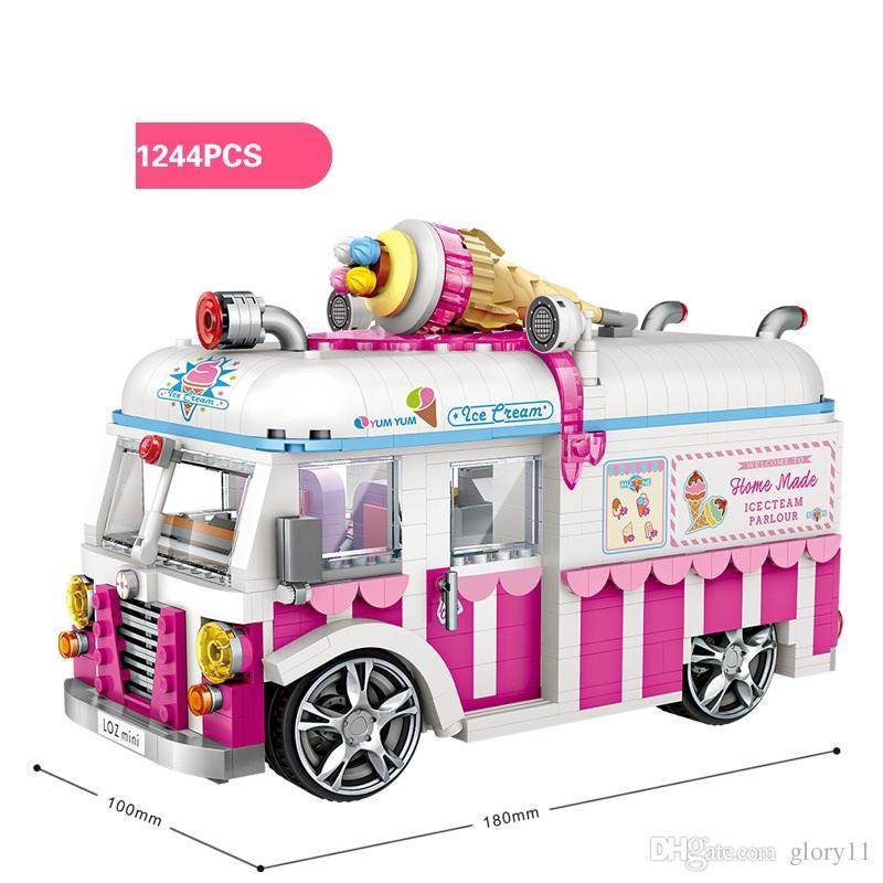 Fuuny Buliding Beatles Helado Coche Niños Hing Hot Policía De Calidad Autobús Car Con Juguetes Bloques Caja Super Dog Color MzVSUp