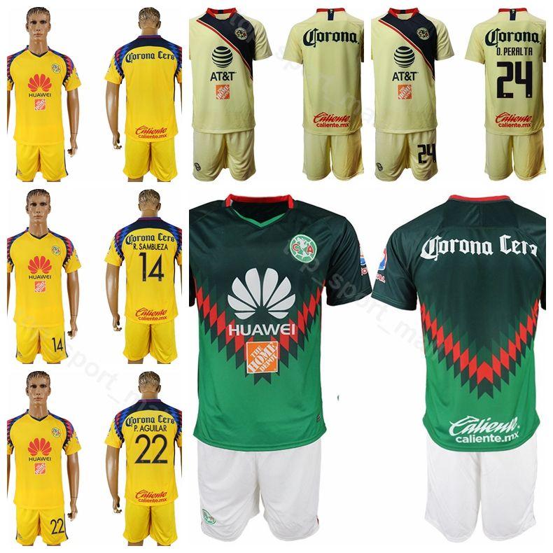 new style f73ba 05330 FC Club America 22 Paul Aguilar Jersey Set 1819 Men 24 Oribe Peralta 8  Mateus Uribe League Football Club Shirt Kits Uniform