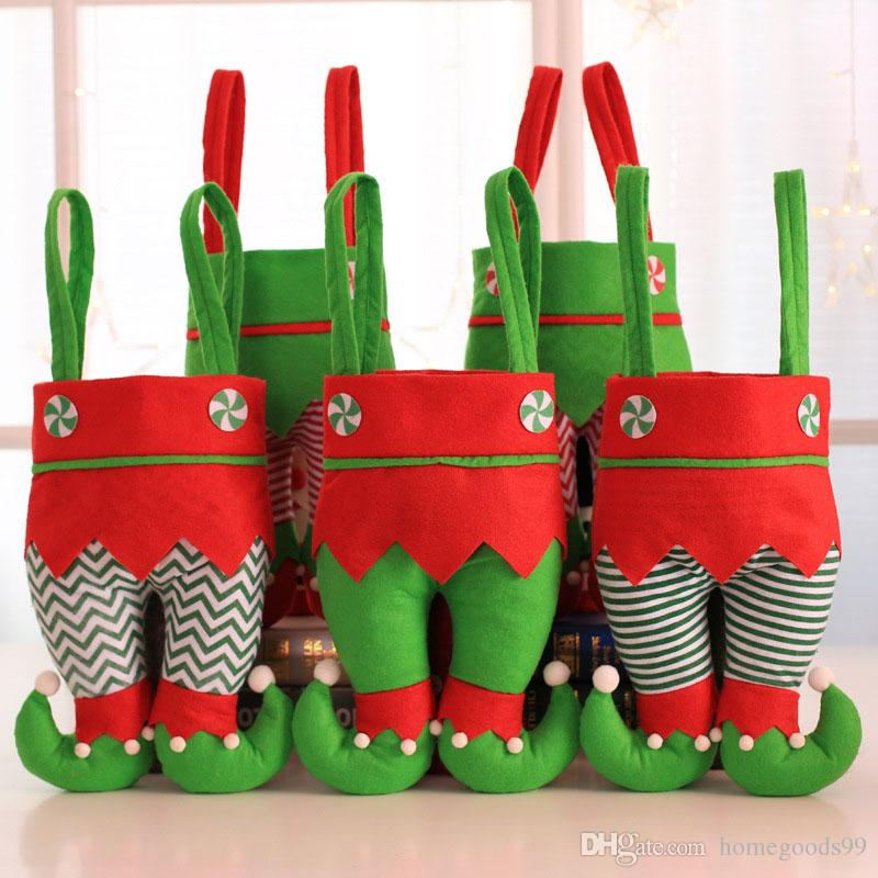 XMAS GIFT Santa Pants Elf Spirit Boots Shoes Candy Gift Bags Christmas Sack Stockings Filler Wine Bags Wholesale