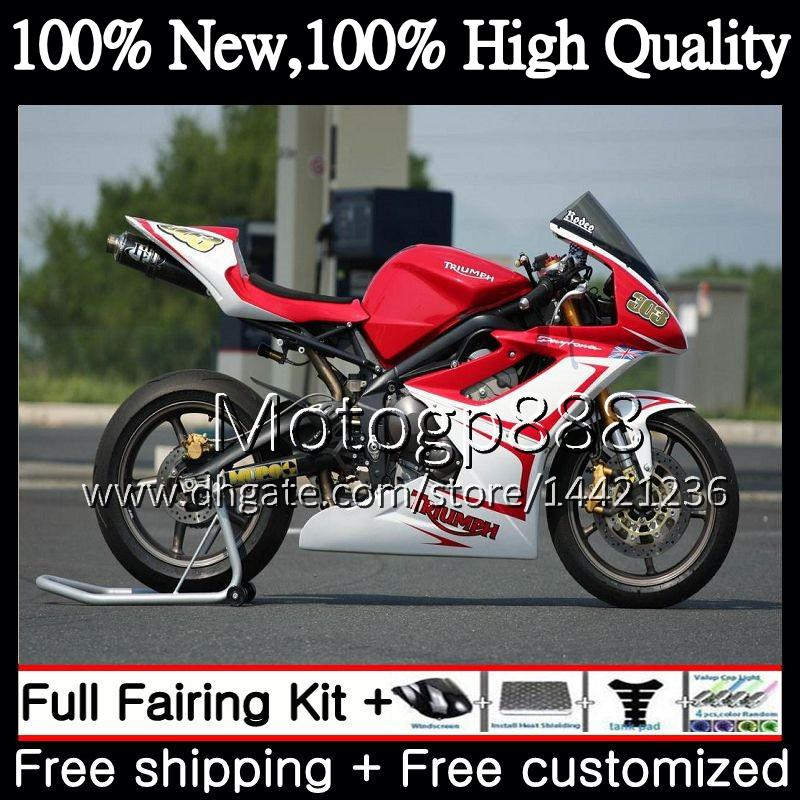 Bodywork For Triumph Daytona 675 09 10 11 12 Red white Body 8PG4 Daytona675 09-12 Daytona 675 2009 2010 2011 2012 Glossy Fairing Bodywork