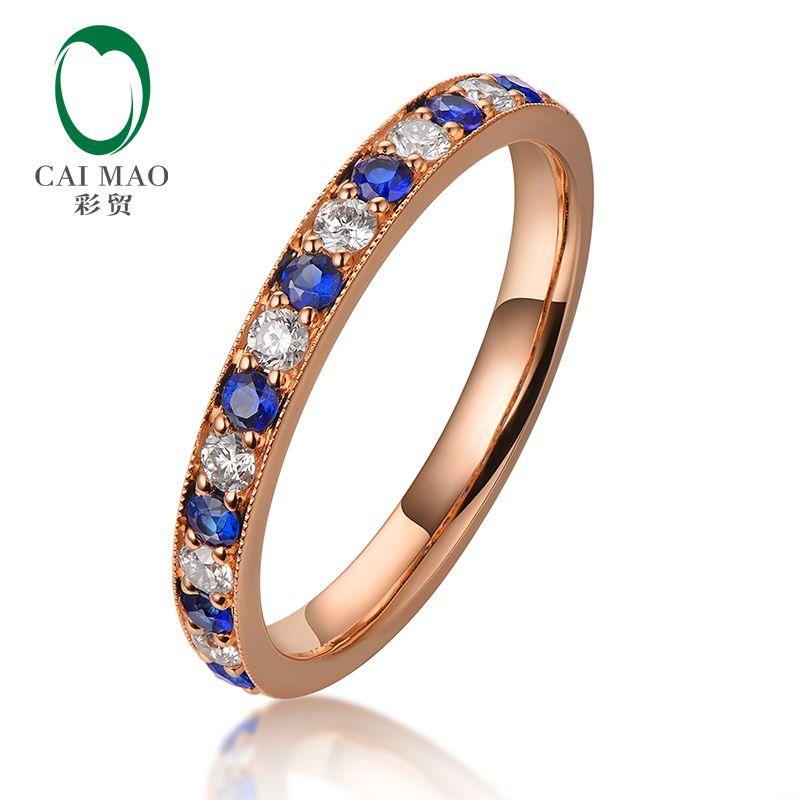 1448b0311c06 Compre Caimao Half Eternity Diamante Natural De Oro Rosa De 18 Kt Y Anillo  De Boda De Compromiso De Zafiro Azul Anillo De Diseño Vintage A  886.26 Del  ...