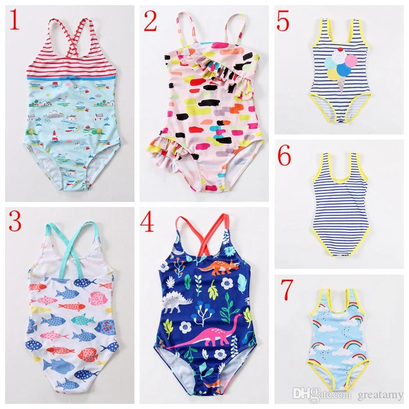 782ffe2ac36f6 2019 7 Styles Fashion Summer Kids Girls Swimwear Cute Print Striped Cartoon  Animal Flamingo One Piece Baby Swimsuit From Greatamy