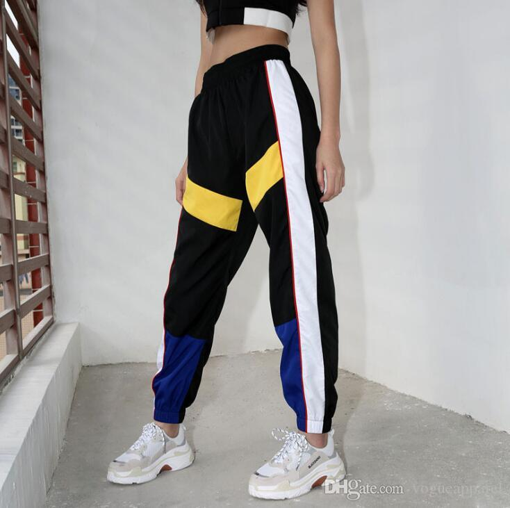 Women High Waist Patchwork Pants Black Pencil Pants Streetwear Cargo ... 6556020d5a67