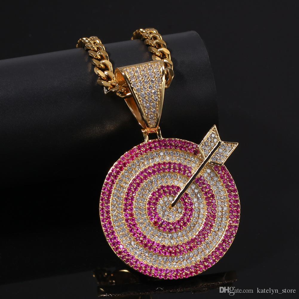 High Quality Hip Hop Jewelry iced out bling darts shape Pendant Necklace For Men Women Gifts