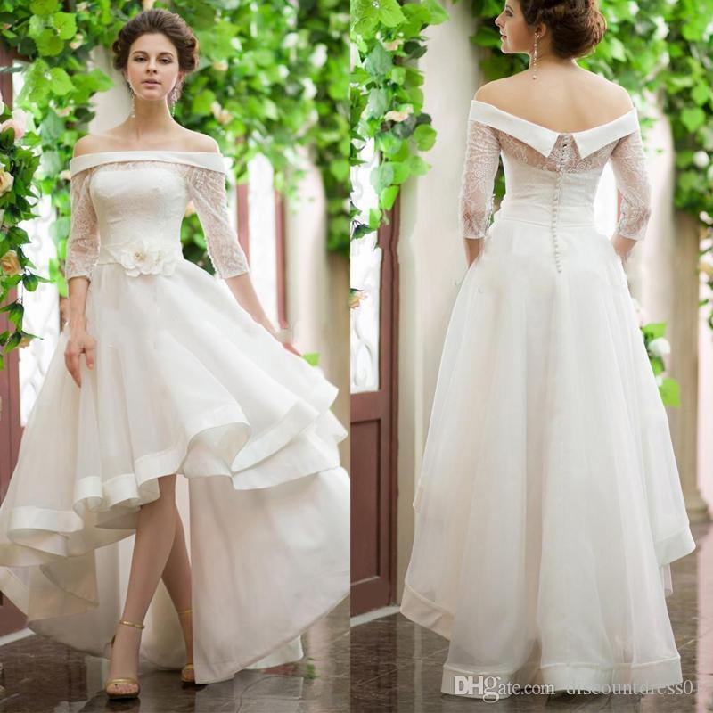 Discount Vintage High Low Wedding Dresses Mini Short