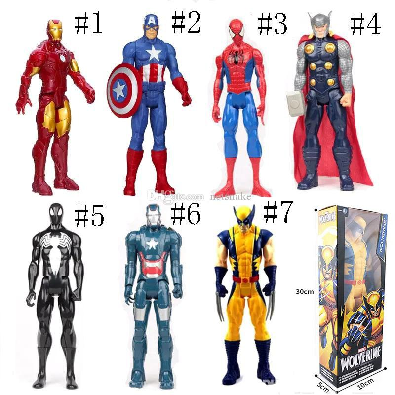 The Avengers PVC Action Figures Marvel Heros 30cm Iron Man Spiderman Captain America Ultron Wolverine Figure Toys as gift to children