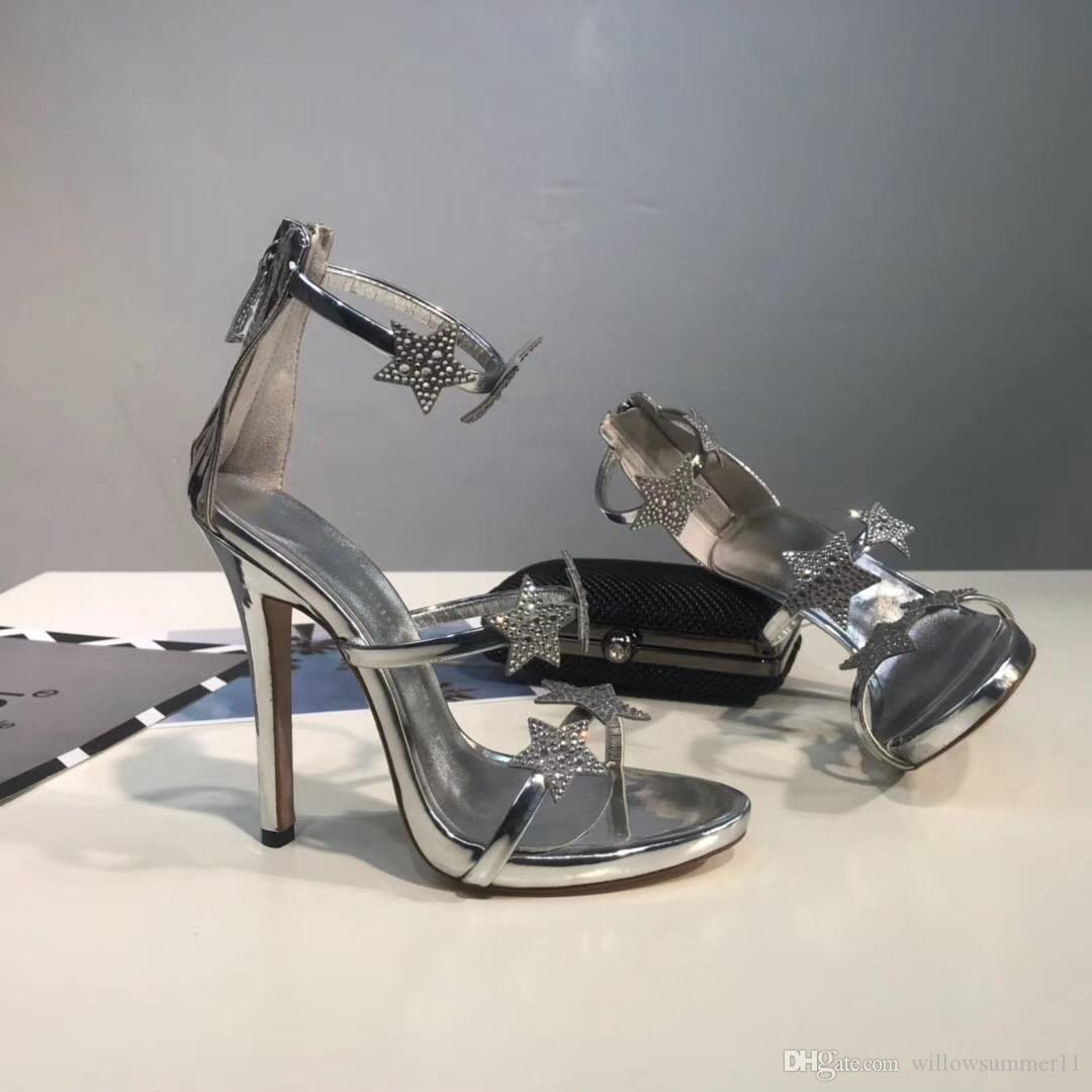 c6c0eb24d Fashion Design Golden Black Silver Women Top Grain Genuine Leather 10cm  Dress And Party Heels Sandals Shoes Reef Sandals Gold Shoes From  Willowsummer11