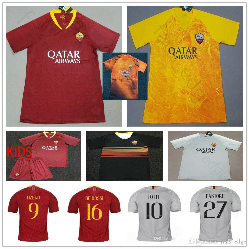 size 40 13f80 a9e7d 2019 2020 AS Roma Soccer Jerseys NAINGGOLAN TOTTI DZEKO PEROTTI DE ROSSI  JESUS PASTORE Custom 19 20 Rome Red Grey Orange Football Shirt