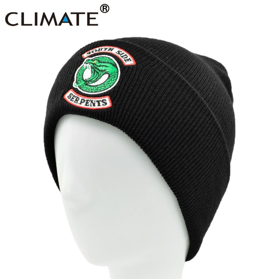 CLIMATE Men Riverdale Beanie South Side Serpents Beanies Hat Men Winter Hat  Snake Black Warm Knit Beanie Black Caps for