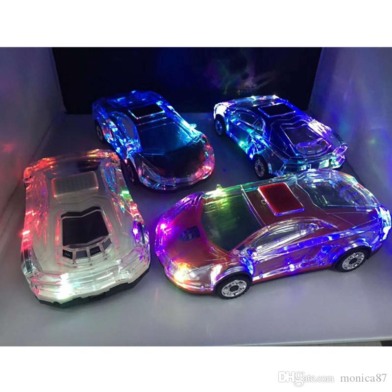 MLL-63 Colorful Crystal LED Light Car Shape Mini Portable Bluetooth Wireless Speaker Subwoofer Stereo Support USB FM Radio MP3 Music Player