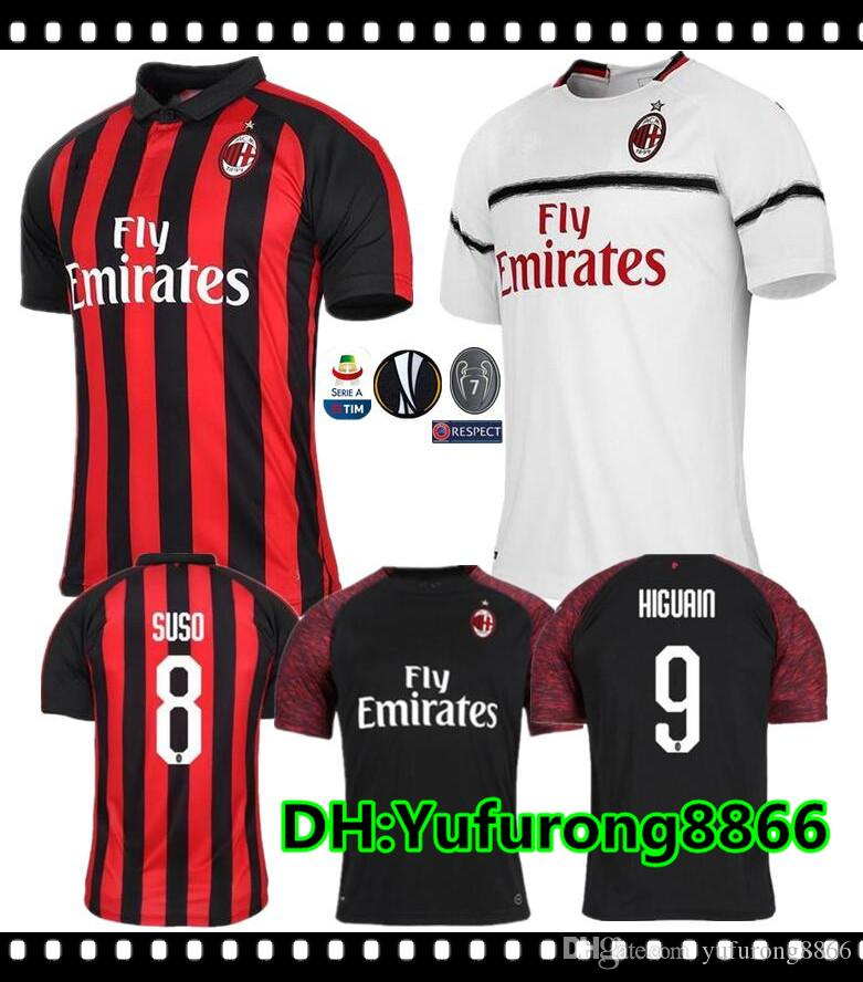 18 19 Milan HIGUAIN Camisetas De Fútbol De Casa 2018 2019 SUSO ROMAGNOLI  CUTRONE KESSIE Milan Visitante LOCATELLI CALHANOGLU Camiseta De Fútbol 3ª  Por ... 548deee8fa94a