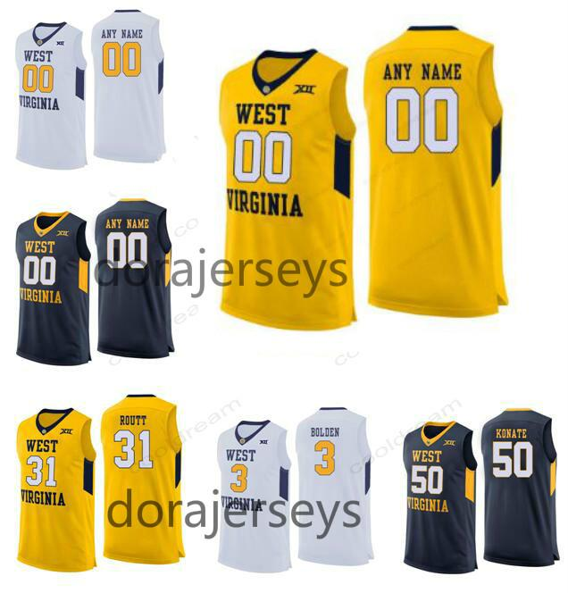 low priced f980e 8fa23 Custom West Virginia Mountaineers Basketball Jersey Stitched Any Name  Number 2 Jevon Carter 50 Sagaba Konate College Jerseys