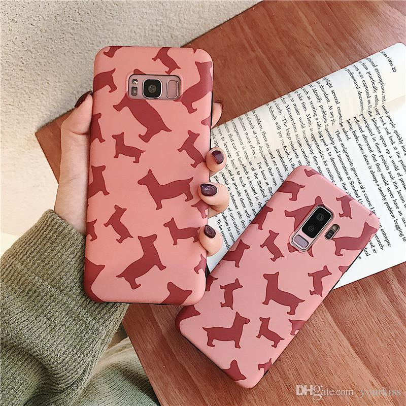 Pink Phone Cases For Samsung S8 S9 S10 Plus Case Abstract Cartoon Dog Silicone Soft Cover For Samsung Galaxy Note 8 9