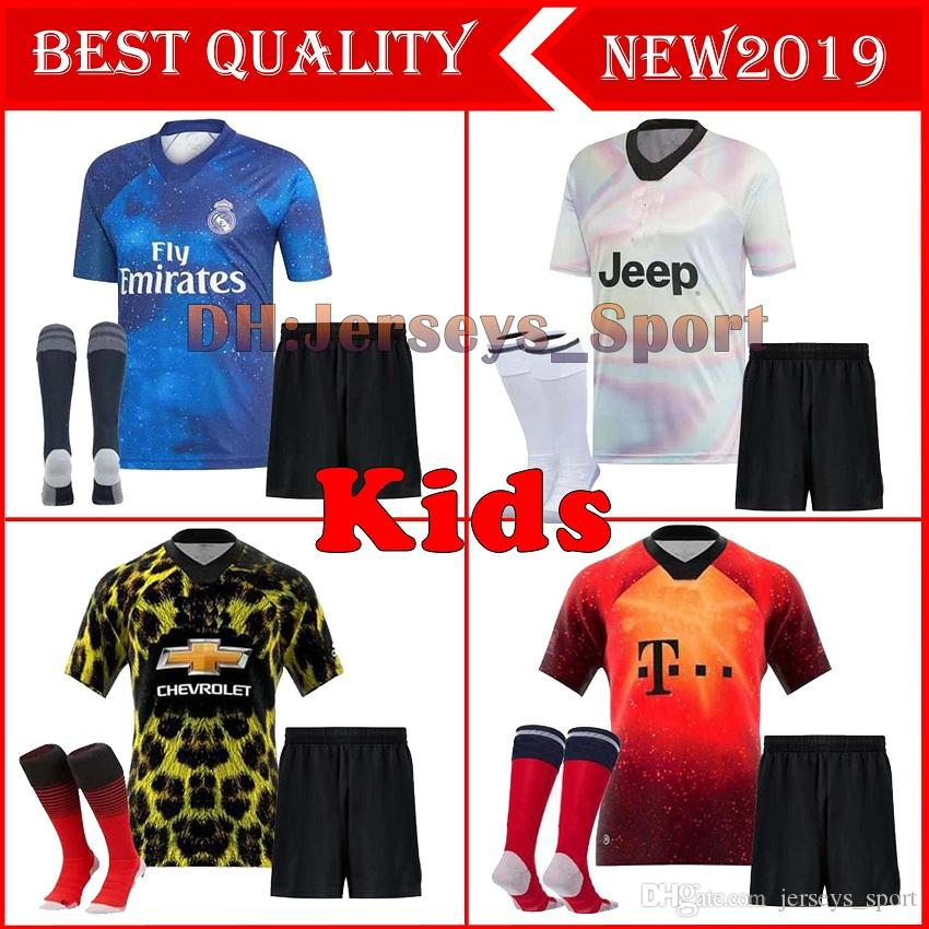 97fe34607 2019 18 19 EA Sports SOCCER Jersey KIDS KIT WITH SOCKS 2018 2019 Juventus  Bayern Munich RONALDO Football Shirt Man Utd REAL MADRID Soccer Jersey From  ...