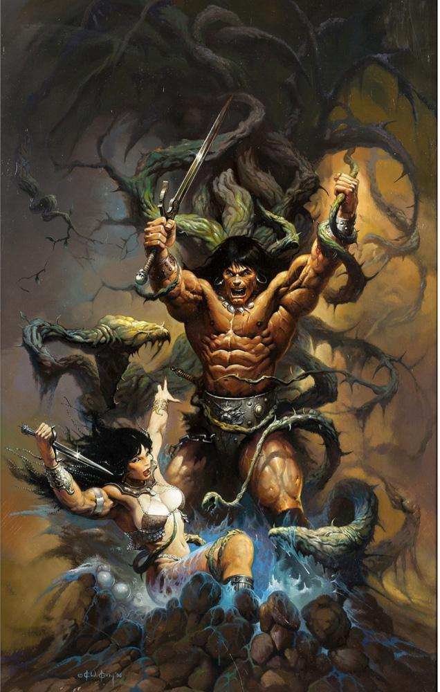 Fantasy Art Warriors Fighting The Monster,Oil Painting Reproduction High Quality Giclee Print on Canvas Modern Home Art Decor W1146