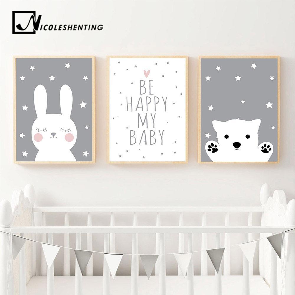 Baby Kinderzimmer Wandkunst Leinwand Poster Print Cartoon Kaninchen Bar Malerei Nordic Kinder Dekoration Bild Kinder Schlafzimmer Dekor