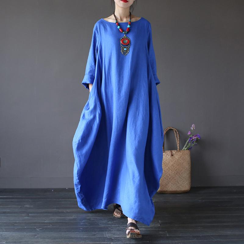 ff6ac625c4 Plus Size Women S Loose Casual Dress Spring Autumn O Neck Vintage Three  Quarter Sleeve Robe Cotton Linen Long Dress Re2144 Short Formal Dresses  Mother Of ...